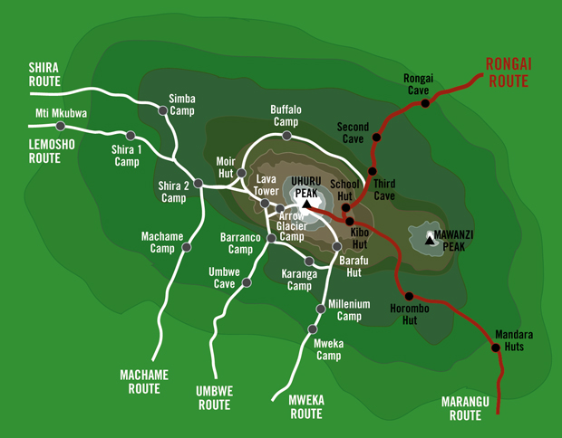 Kilimanjaro-Rongai-Route-Map